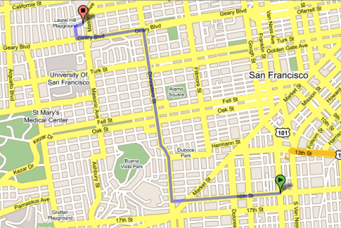 Solidarity March in San Francisco - Route Map